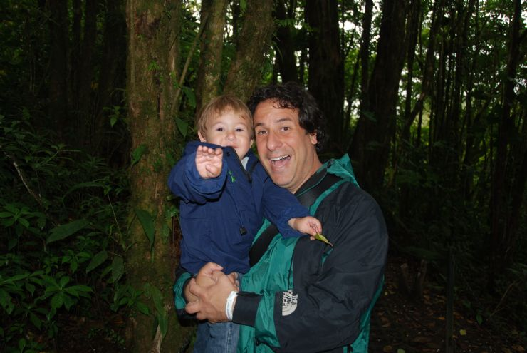 Toddler's first hike in the cloud forest