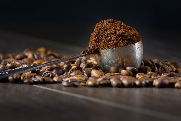 Ground and coffee beans