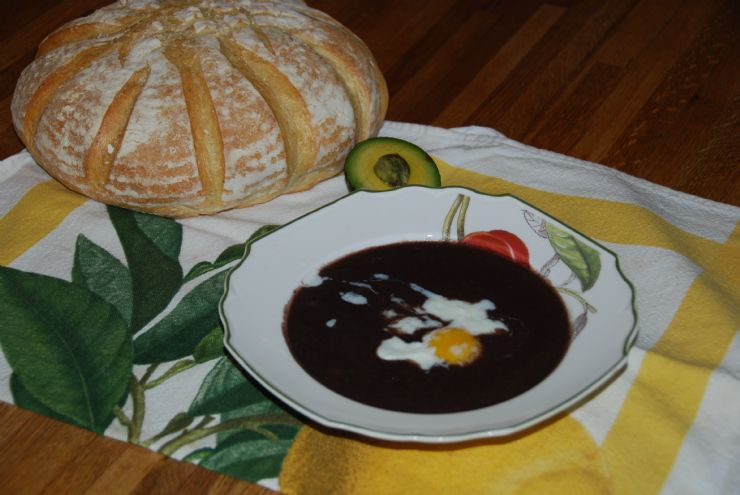 Delicious typical Black Bean Sopa Negra