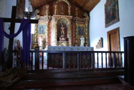 Main beautiful altar inside Orosi Church - Orosi, Cartago