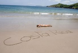 Sand letters on Jaco Beach welcomes you - Jaco, North Puntarenas