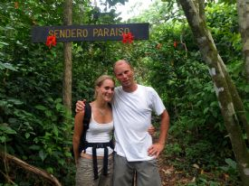 A couple of hikers posing for photo before the big hike in Corcovado National Park