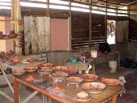 Inside pottery factor at Guaitil - Guaitil, Guanacaste