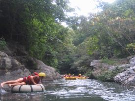 Relaxing while white water tubing - Rinc�n de la Vieja National Park, Guanacaste