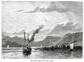 Vintage engraving from 1878 of the Nicoya Peninsula of Costa Rica