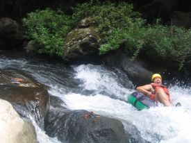 Happy while white water tubing - Rinc�n de la Vieja National Park, Guanacaste
