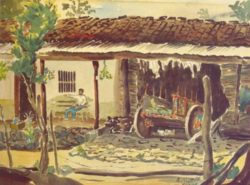 Francisco Amighetti Watercolor of a typical carreta courtesy of www.franciscoamighetti.com