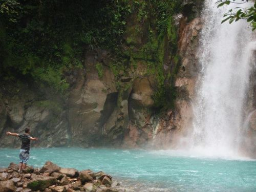 Huge waterfall at Rio Celeste