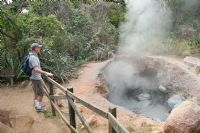 Checking out one of the many boiling mud pots in Rincon de la Vieja National Park