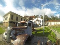 Old car before Duran Sanatorium Chapel, Cartago