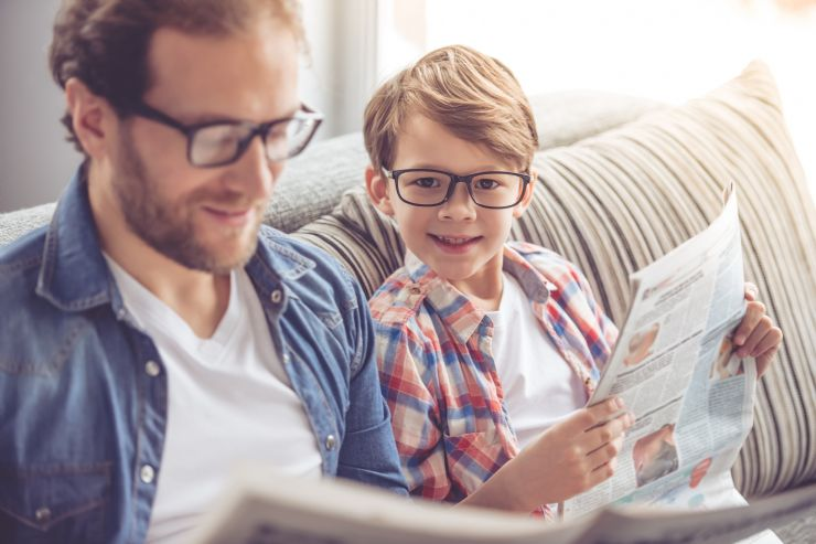 Father & Son Reading Newspaper