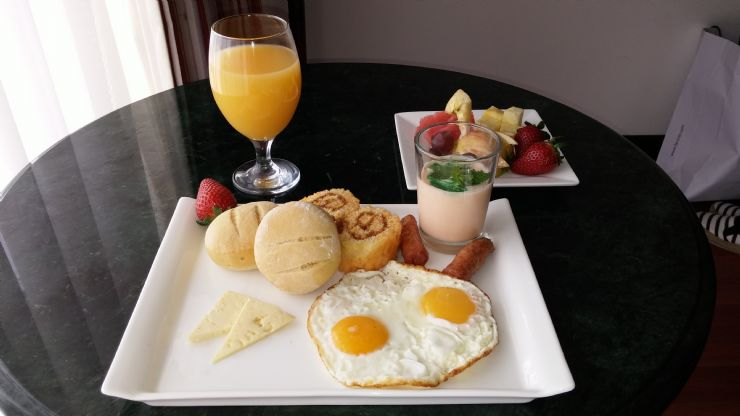 Delicious Tico breakfast at Palma Real Hotel room