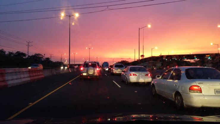 Beautiful sunset during Traffic Jam