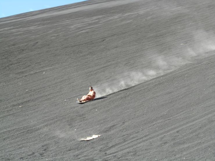 Volcano-boarding in Cerro Negro, Nicaragua