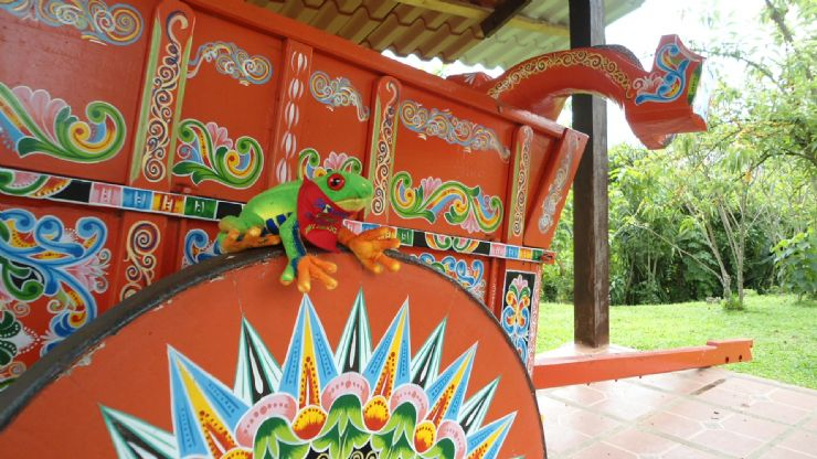 Javi the Frog next to typical Ox Cart