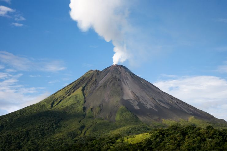 Arenal Volcano with smoke coming out of crater