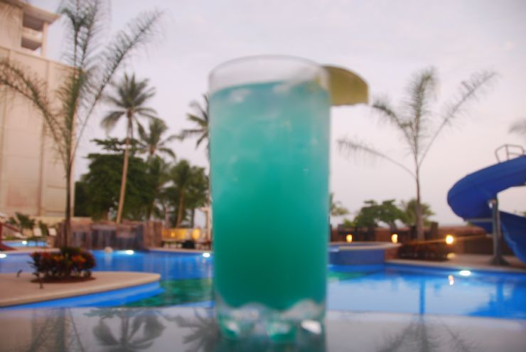 Blue Hawaiian Tropical drink at the beach
