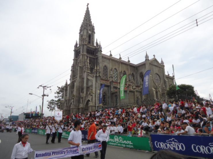 Beautiful neo-Gothics style church during Independence Day celebrations