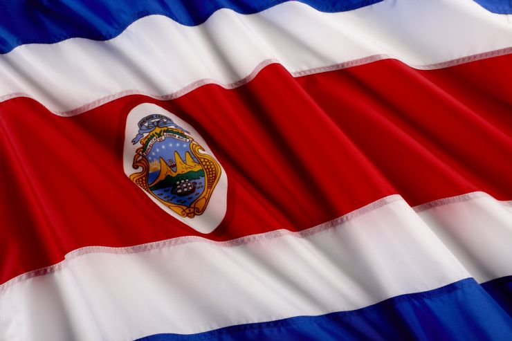 Beautiful Costa Rica flag in the wind