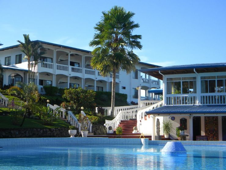 View of main building from pool at Cristal Ballena Hotel
