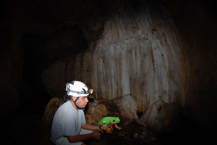 Javi the Frog with guide inside Venado Caves, Alajuela