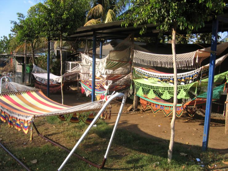 Hammocks for sale in a typical market in Santa Ana
