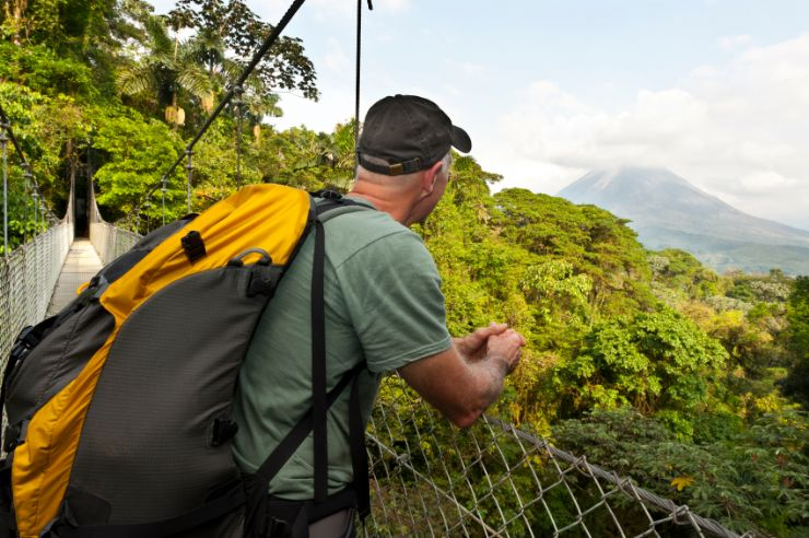 Checking out Arenal Volcano from a hanging bridge