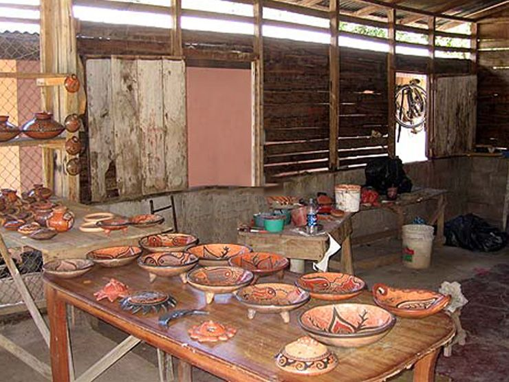 Inside pottery factor at Guaitil