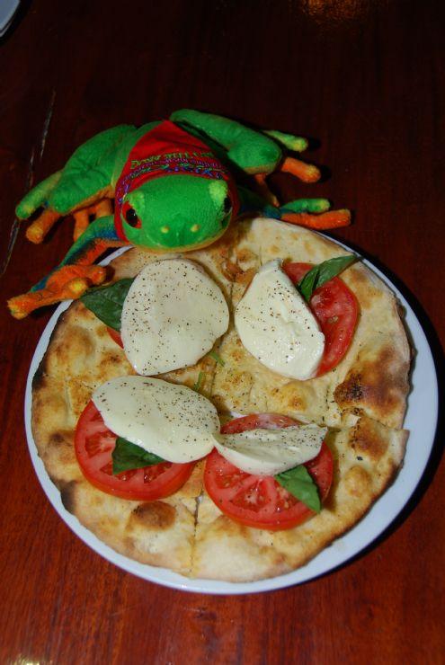 Javi the Frog having a delicious Focaccia Capresse at Arenal Volcano Inn restaurant