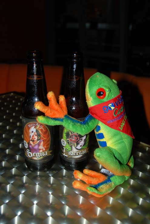 Javi the Frog checking out the new micro-beers of Costa Rica - Segua & Libertas