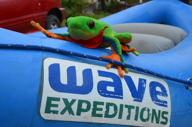 Javi the Frog getting ready to begin its rafting adventure with Wave expeditions