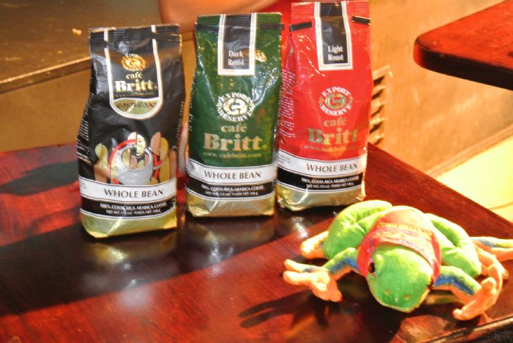 Javi the Frog with Cafe Britt bags