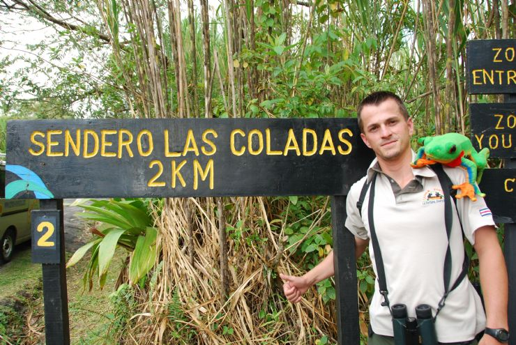 Javi the Frog with guide in Las Coladas trail at Arenal Volcano Natl. Park
