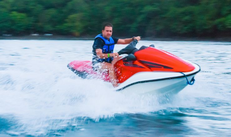 Riding a jet ski in the Papagayo Gulf in Guanacaste