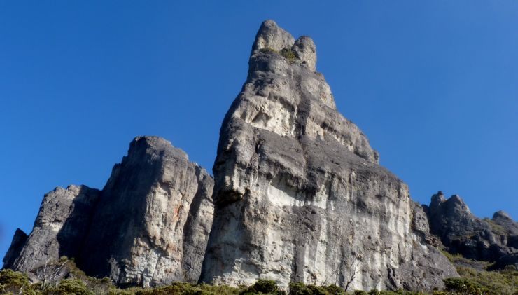 Impressive rock formation on Chirripo Peak