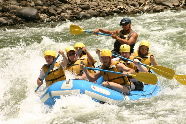 Having fun white water rafting on the Pacuare River