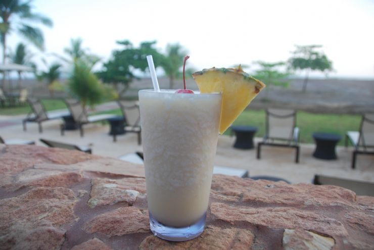 Delicious Piña Colada drink at the beach