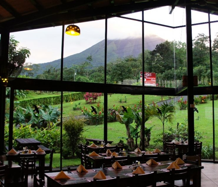 Cloudy view of Arenal Volcano from Que Rico Restaurant, la Fortuna