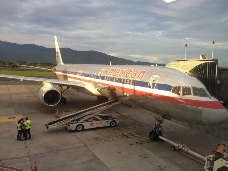 American Airlines plane at San Jose International Airport