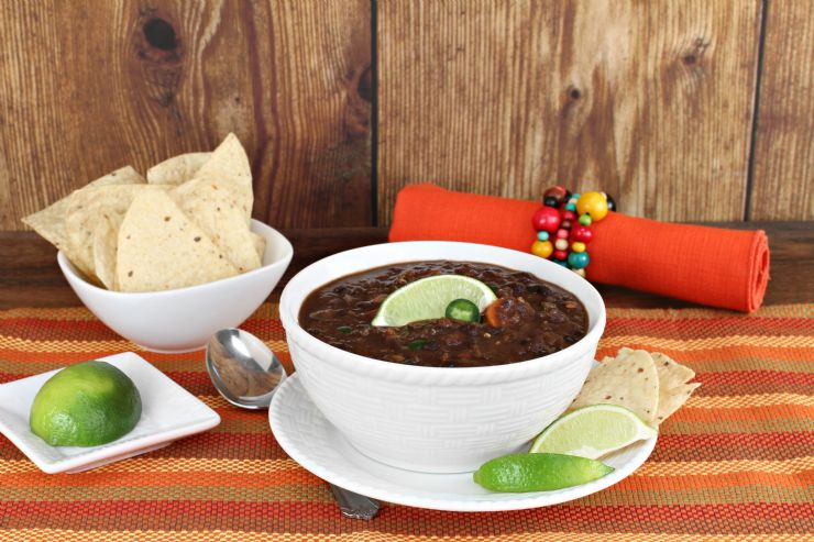 Typical Sopa Negra or Black Bean Soup in Costa Rica