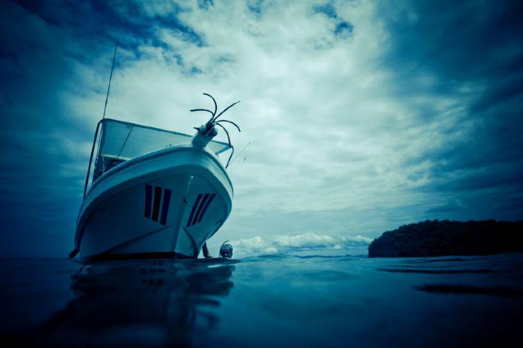 Sportfishing boat off the coast