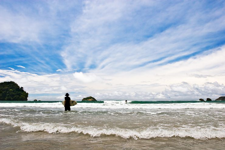 Surfing at Playita in Manuel Antonio