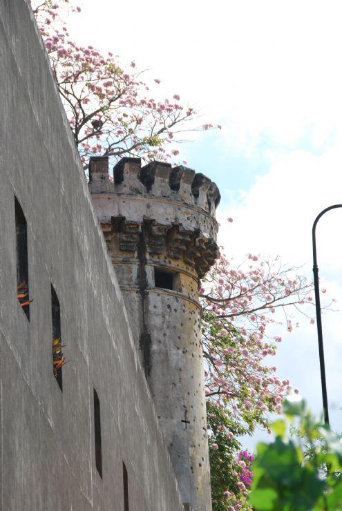 Tower with gunshots facing the street in San Jose