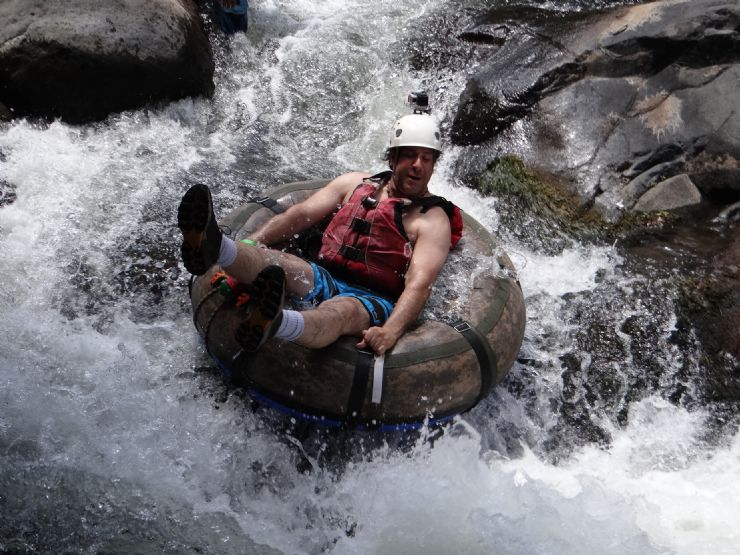 Todd having fun on a white water tubing tour in the Rio Negro