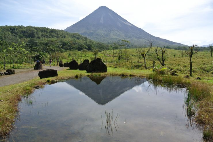 Arenal Volcano reflection on lake at Arenal Volcano National Park