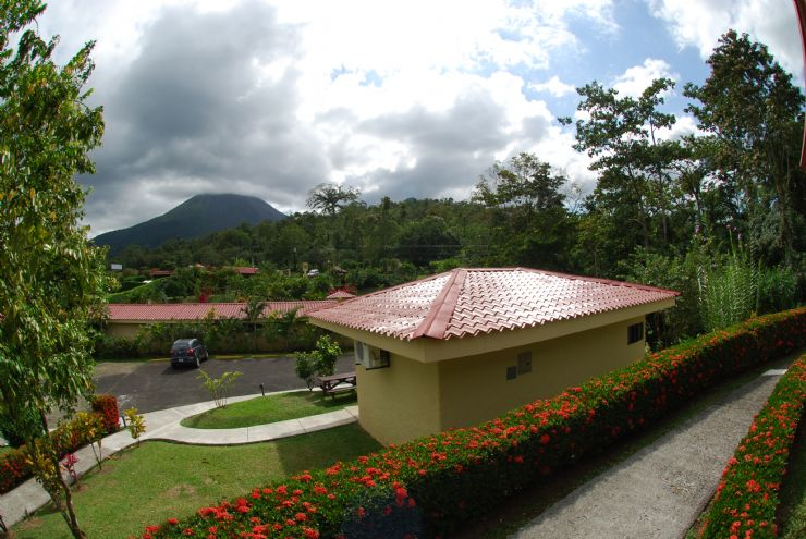 Arenal Volcano view from terrace at Arenal Volcano Inn