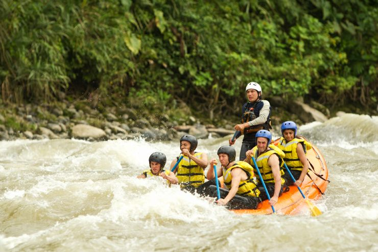 Having fun rafting on the Rio Naranjo