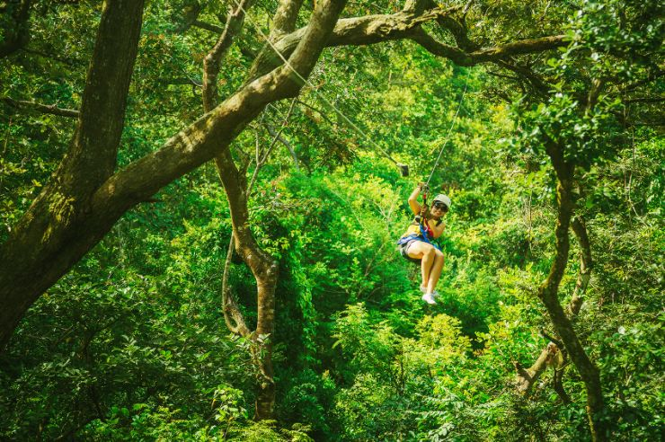 Flying through the trees on a Canopy Tour in Monteverde