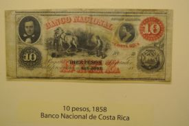 Old Costa Rican Ten pesos bill at Gold Museum