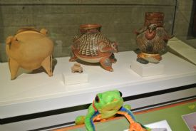 Javi the Frog next to old pottery made by indigenous